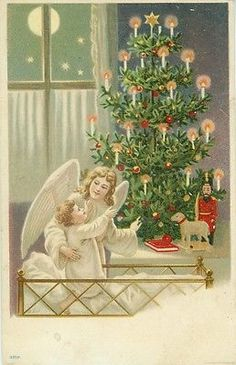 Angel Delights Baby in Crib with Big Christmas Tree, Nutcracker Soldier