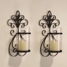 Iron Wall Sconce Candle Holder (Set of Hanging Candle Holder, Wall Hanging Candle Holders, Pillar Candle Holders, Wall Candles, Candle Holder Wall Sconce, Candle Wall Sconces, Wall Candle Holders, Iron Wall Sconces, Glass Candle