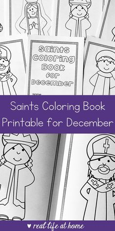 Looking for a seasonal saint activity to do with children? This free printable saints coloring book for December is a great Catholic coloring book for kids #CatholicPrintables #CatholicKids