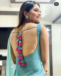 Blouse Back Neck Designs - The handmade craft Kurti Back Neck Designs, New Saree Blouse Designs, Neck Designs For Suits, Kurta Neck Design, Fancy Blouse Designs, Dress Neck Designs, Bridal Blouse Designs, Blouse Styles, Stylish Blouse Design
