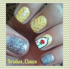 Chevron Disney nails, beauty and the beast #kristiesclaws