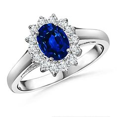 Christmas Special Offer - AAAA Quality Prong Set Oval Sapphire and Round Diamond Vintage Ring in 14K..