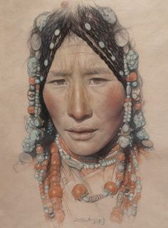 "William Wu; Pastel, Drawing ""Portrait of the Tibetan girl wearing a headdress"""