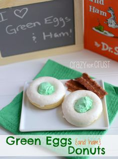 Green Eggs Donuts are perfect to celebrate Dr.Seuss' birthday! Serve with a side of bacon and you'll have Green Eggs & Ham! www.crazyforcrust.com #drseuss #donut #breakfast
