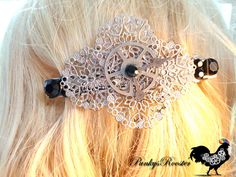 Steampunk Clock Barrette- Victorian Style -Filigree Silver Colored Hair Jewelry- Large Metal Barrette- Unique Gift For Her -#PR82  Large Barrette for up-dos suitable for a Non Traditional Bride.  Need a gift for that unique woman in your life?  This large barrette is designed and made by me here in my smoke-free home studio. Metal clip measures 3.5 inches on the underside where the clip is located. The ornamented portion on the top measures 4 inches.  The design makes for a great gift item…