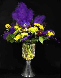 Mardi Gras floral centerpiece with underwater floral lights