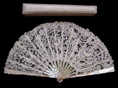 Handmade Duchesse and Point de Gaze Belgian Lace Fan - Date: ca. 1910 - MadAboutFans.com