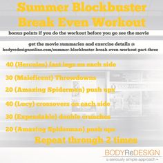 "Summer Blockbuster ""Break Even"" Workout (from https://bodyredesignonline.com/summer-blockbuster-break-even-workout-part-three/)"