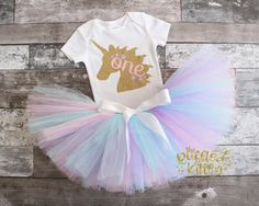 Unicorn First Birthday Outfit - First Birthday - Girl Birthday - 1st Birthday - Tutu - Pink Silver Birthday - One - Cake Smash - Photo Prop