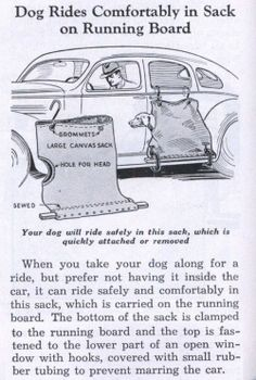 """""""Your dog will ride safely in this sack."""" Vintage Ad June 1936 issue of Popular Mechanics.Dog Rides Comfortably in Sack on Running Board Funny Vintage Ads, Pin Up Vintage, Funny Ads, Vintage Humor, Vintage Posters, Weird Vintage, Vintage Dog, Hilarious, Old Advertisements"""
