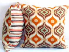 Psychedelic stripe pillow  18x18 pillow cover  by SABDECO on Etsy
