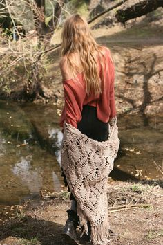 Sexy off the shoulder blouse in dust. Cute diamond fringe shawl. Black maxi skirt. Untamed waves. Gypsy style for fall.