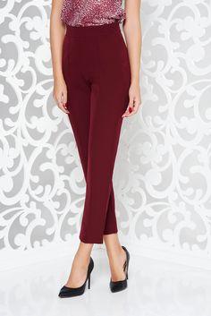 StarShinerS burgundy elegant office trousers high waisted slightly elastic fabric, side zip fastening, with pockets, high waisted, slightly elastic fabric