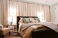 Curtains behind bed wall curtains behind bed it wall curtains bedroom. Window Behind Bed, Wall Behind Bed, Curtains Behind Bed, Bedroom Drapes, Bed Wall, Home Bedroom, Bedroom Wall, Bedroom Decor, Wall Curtains