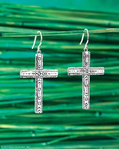 Two lines of intricately engraved Sterling Silver intersect to form the Ideal Earrings in good character. CLICK ON THE IMAGE TO SHOP