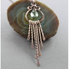 Fringe copper necklace with horseshoe pendant with green amethyst stone