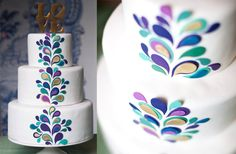 Isn't this fun? Maybe add some thin ribbon, fabric or fondant, to the bottom of the tiers to hide where they meet!