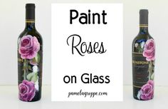 How to Paint Roses on Glass I absolutely love painting on glass. I enjoy painting on many things but glass takes it to a whole new level. This is a wonderful way to up-cycle glass ware from the t…