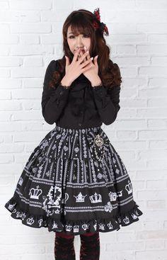 8d2fa76681f2d Black Knee-length Sweet Lolita Pleated Skirt with Crown Prints Lolita  Fashion Customized  62.50  Lovejoynet  Lolita