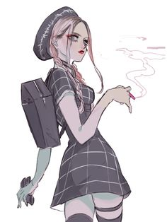 Anime, School Girl, Delinquent, Smoking