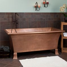 "64"" Kendara Rectangular Hammered Copper Tub on Feet"