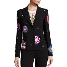 Moschino Floral Blazer ($2,895) ❤ liked on Polyvore featuring outerwear, jackets, blazers, apparel & accessories, black multi, multi color blazer, embroidered blazer, colorful blazers, beaded jacket and long sleeve jacket