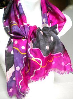 Flamboyant Opera Purple Indigo gray SILK by SilkScarvesJoanReese, $40.00