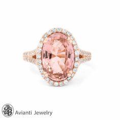 Morganite and Diamond Engagement Ring Morganite by AviantiJewelry   $2549.00