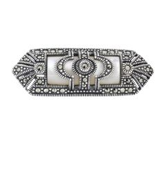 Mother of Pearl Marcasite Brooch - Chicago Marcasite Jewellery Marcasite Jewelry, Jewelry Boards, Semi Precious Gemstones, Bridal Jewelry, Jewellery, Pearls, Sterling Silver, Brooches, Chicago