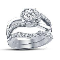 Wedding Bridal Ring Set 0.92 CT Rd Cut Diamond 14K White Gold FN Bypass Shank   #aonedesigns