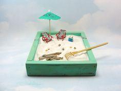 miniature zen beach garden kit, mini lounge chairs, bucket with shells, umbrella, seagull, driftwood, shells, rake by ScrapwoodStudio on Etsy