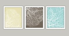 Bathroom Coral Art Prints Set of 3 8x10 by CleverPrintables, $15.00
