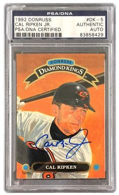 Featured is a Cal Ripken Jr. autographed 1992 Donruss trading card. This card has been authenticated and slabbed by PSA.