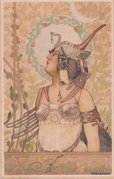 ART NOUVEAU -ARPAD BASCH - HUNGARIAN JEWISH PAINTER - WARRIER WOMAN