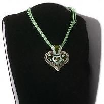 Beautiful Green Designer Heartenamel Pendant matching rope Necklace.  Measures - 57x52mm Hung on18 inch Multi stran Rope with 2-inch extended chain.  Every piece is brand new and made with the highest quality materials.  Thank you for taking the t...