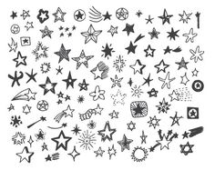 Hand Drawn Doodle Stars Scrapbook Clipart Stars by TanyaMakDesign