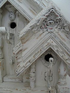 Shabby Chic Ornate Birdhouses - made from salvaged siding, trim, picture frame mouldings, etc. - via Burlap Luxe