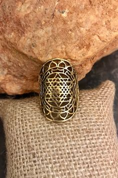 Excited to share the latest addition to my #etsy shop: Brass Sri Yantra Ring/ Sacred Geomtry Jewelry/ Gold Brass: Statement Ring/ Shree Yantra Ring/ Indian Tribal/ Adjustable ring/ Triangles ring