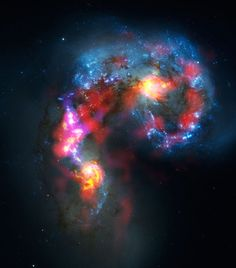 The Antennae Galaxies (also known as NGC 4038 and 4039) are a pair of distorted colliding spiral galaxies about 70 million light-years away, in the constellation of Corvus (The Crow).