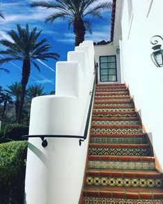 An intricately tiled stairway to beautiful views and ultimate relaxation at La Quinta Resort. Captured by @katie_connelly via Insta.