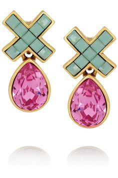 Oscar De La Renta Gold-plated Swarovski Crystal Earrings