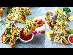 These Applebee's Chicken Wonton Tacos are filled withhoney-garlicchicken, sweet chili sauce and zesty Asian slaw stuffed into crispy wonton shell. Chicken Wonton Tacos, Chicken Wontons, Wonton Appetizers, Appetizer Recipes, Good Healthy Recipes, Healthy Meal Prep, Honey Garlic Chicken, Dinner Salads, Restaurant Recipes