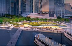 5 Proposals Reimagine Toronto Ferry Terminal and Waterfront Park,Harbour Landing Ferry Terminal / KBMP Architects, West 8, Greenburg Consultants. Image Courtesy of WATERFRONToronto