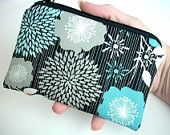 Coin Purse Aqua Floral Little Zipper Padded ECO Friendly Pouch