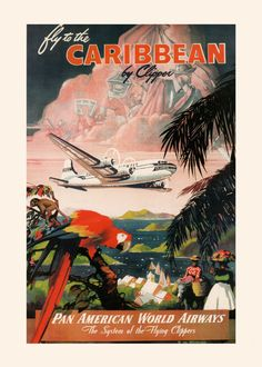 CARIBBEAN TRAVEL POSTER Pan Am Airlines by EncorePrintSociety