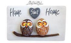 Unico fatto a mano 'Home Sweet Home' gufi opera 3d di owlsweetowl