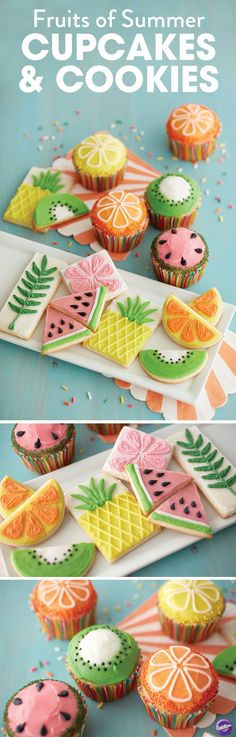 Make the fruits of summer as your inspiration to decorate cupcakes and cookies! Use the Wilton icing pouches for quick decorating. These tasty treats are great for your summer themed celebrations! Watermelon Cupcakes, Pineapple Cookies, Fruit Cupcakes, Cupcake Mix, Cupcake Cookies, Sugar Cookies, Leaf Cookies, Cute Cookies, Bonbon