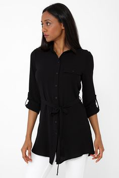What if there's a dress you could wear to work AND a cocktail party? Here you go our lightweight black dress! Shirt Blouses, Shirts, Work Wear, Rompers, Shirt Dress, A3, How To Wear, Black, Dresses