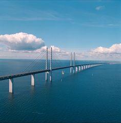Удивительный мост переходящий в тоннель, который соединяет Данию и Швецию « FotoRelax