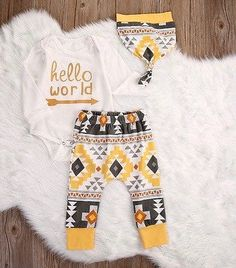 Hello World Aztec Three Piece Clothing Set For Newborn Baby Toddler